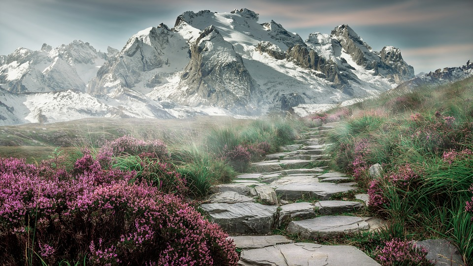 mountain landscape mountains landscape steinweg nature mountain hiking hiking mountain peaks alpine distant view fog meadow sky mood staircase pink snow holiday romantic recovery mountaineering composing photoshop image manipulation hike mountain tour away mountain walker more stone stairs mountains mountains mountains mountains mountains landscape