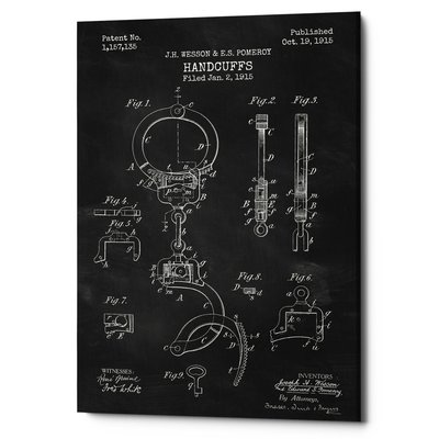 'Handcuffs Blueprint Patent Parchment' Print on Wrapped Canvas in Black