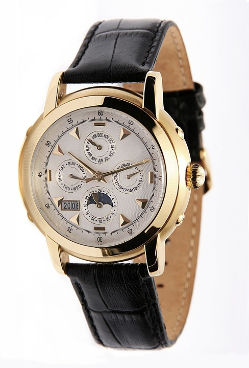 chronometer, wrist watch, gold